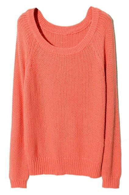 Raglan Sleeve Melon-red Jumper