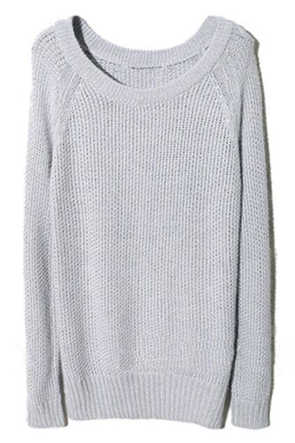 Raglan Sleeve Light-grey Jumper
