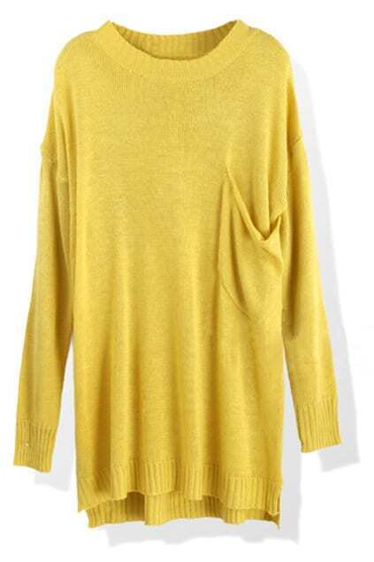 Casual Pocket Goose-yellow Jumper