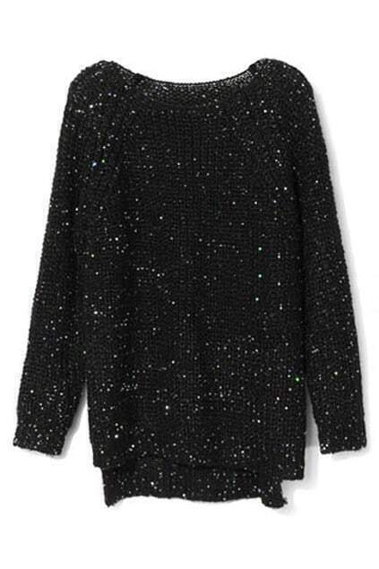 Asymmetric Sequined Black Jumper
