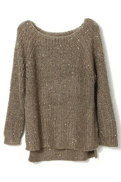 Asymmetric Sequined Coffee Jumper