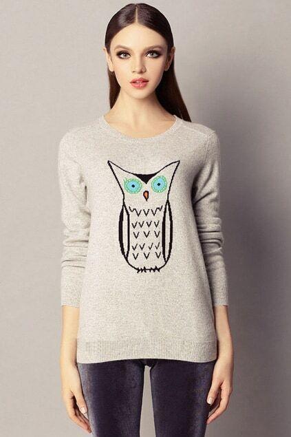 Lovely Owl Grey Jumper