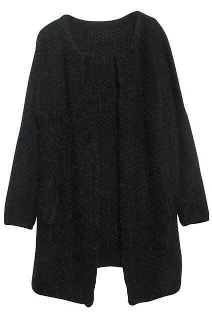 Loose Collarless Black Cardigan