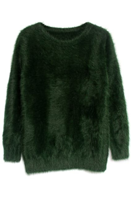 Solid Color Dark-green Jumper
