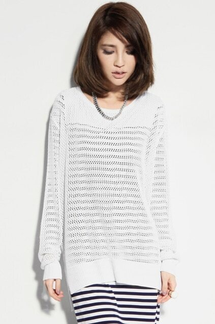 Hollow Loose White Jumper