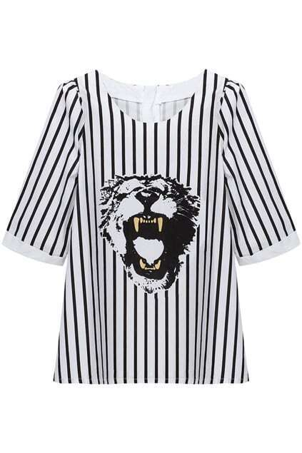 Tiger Head Print Contrasting Stripe T-Shirt