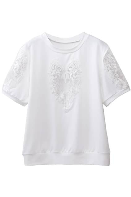 Dual-tone Embroidered Lace T-shirt