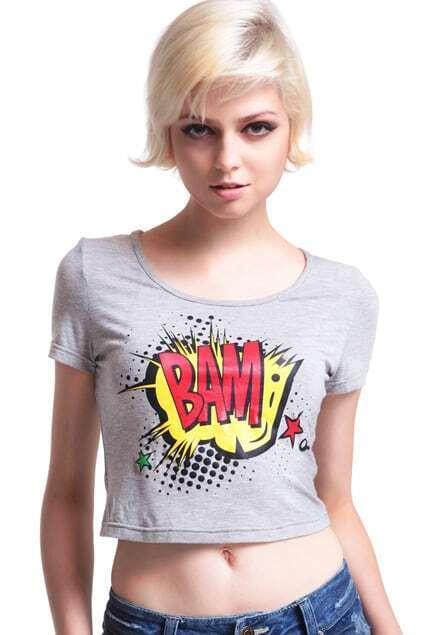 Bam Pattern Grey Midriff T-shirt