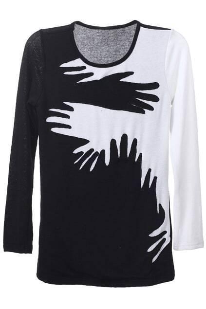 Color Block Black Pullover