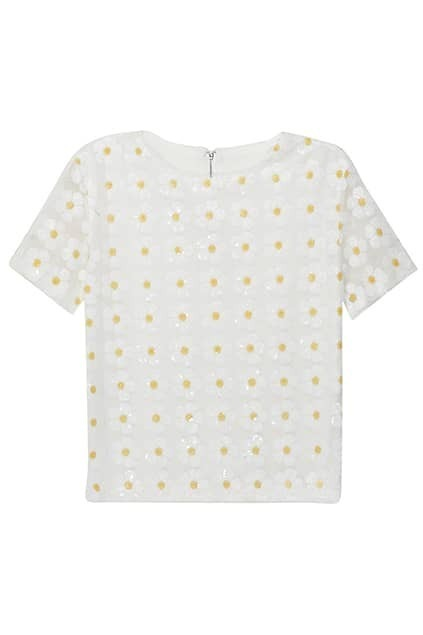 Hollow-out Sequined Flower White Blouse