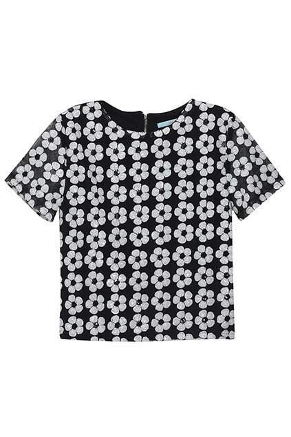 Hollow-out Sequined Flower Black Blouse