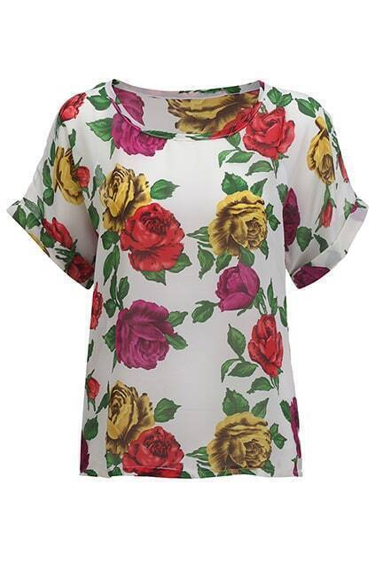 Loose White Floral T-shirt
