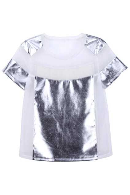 Splicing White T-shirt
