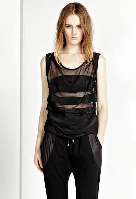 Diaphanous Tulle Black T-shirt
