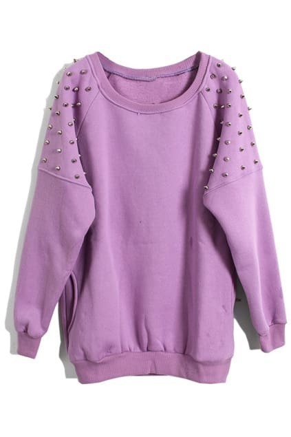 Stud Pocket Purple Pullover