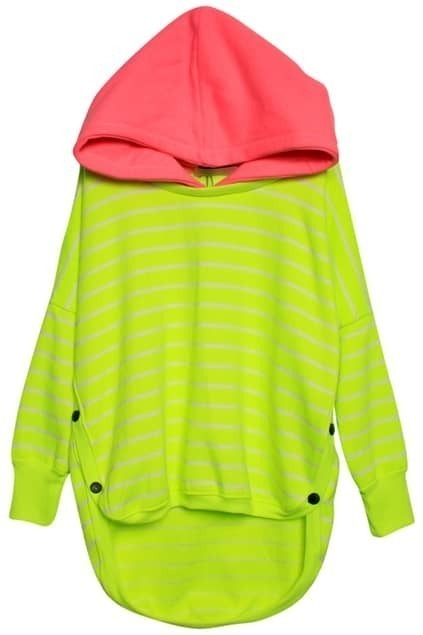 Contrast Color Yellow-green Hoodie