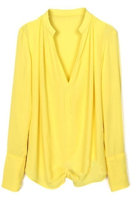Yellow V-neck Chiffon T-shirt