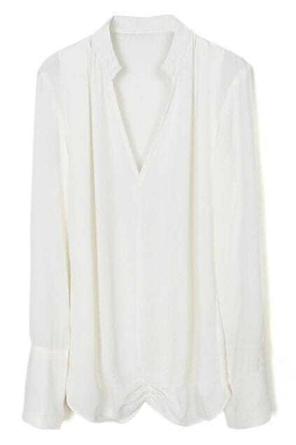White V-neck Chiffon T-shirt