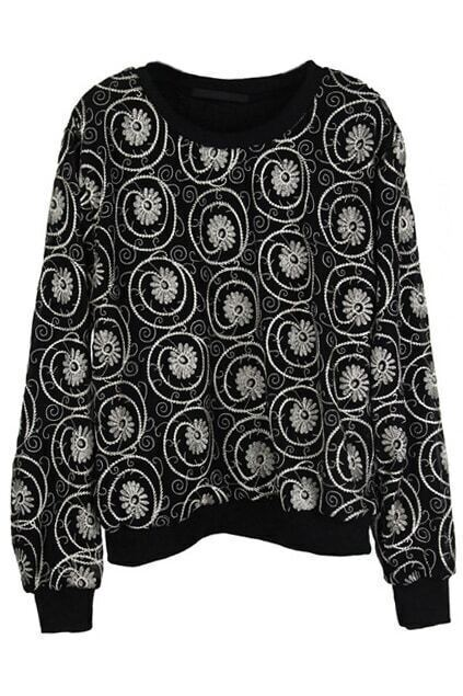 Stereo Embroidery Black Pullover