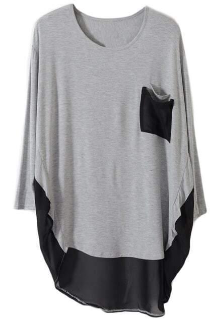 Loose Double Pockets Light-grey T-shirt