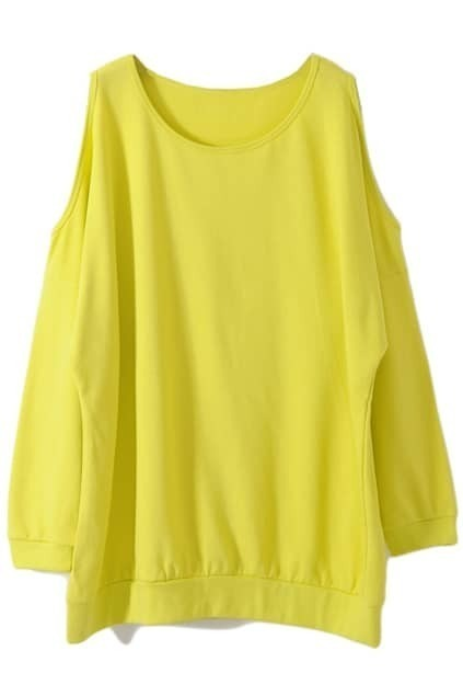 Loose Off-the-shoulder Yellow Pullover