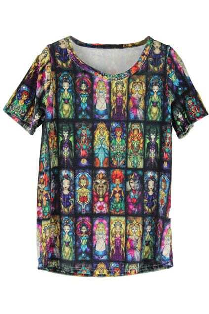 Princess Print Colorful T-shirt