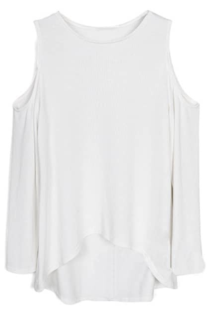 Asymmetric Off-the-shoulder White T-shirt