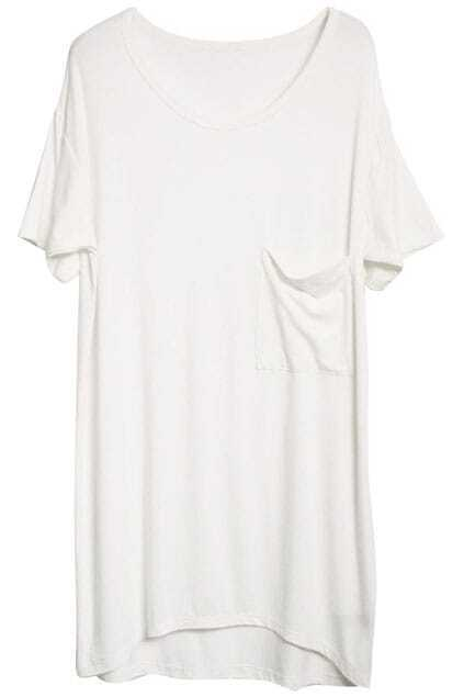 White T-Shirt With Front Pocket