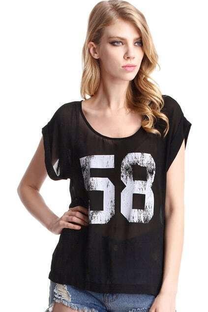 Black T-Shirt With 58 Printings