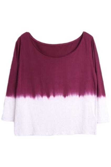 Dark-red Dyed  T-shirt