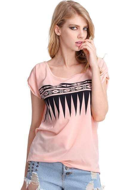 Pink Sawtooth Print T-shirt