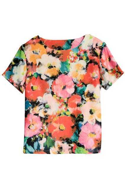 Floral Print Red T-Shirt