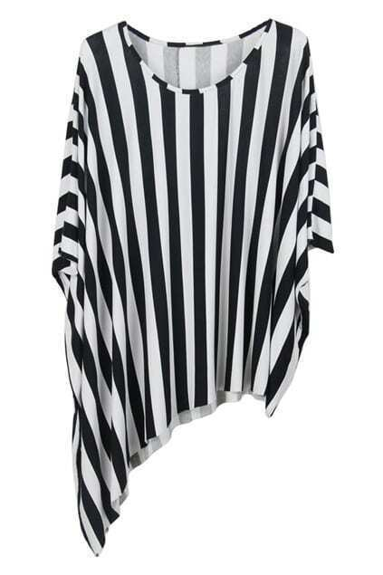 Vertical Stripes Irregular T-shirt