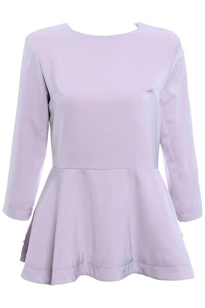 Purple Peplum Style Waist T-shirt