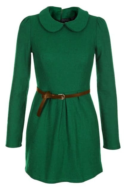 Zippered Waistbelted Green Dress