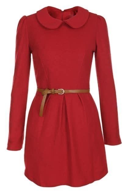 Zippered Waistbelted Red Dress