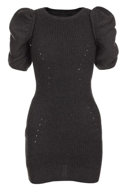 Puff Sleeve Dark-grey Dress