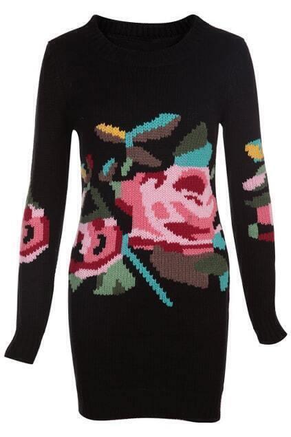 Knitted Jacquard Black Dress