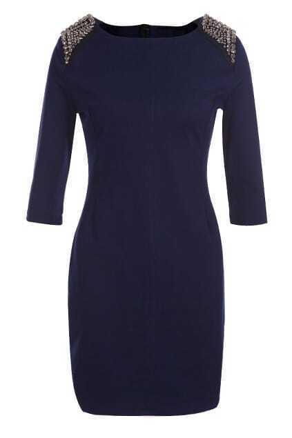 Rivet Embellished Dark-Blue Dress