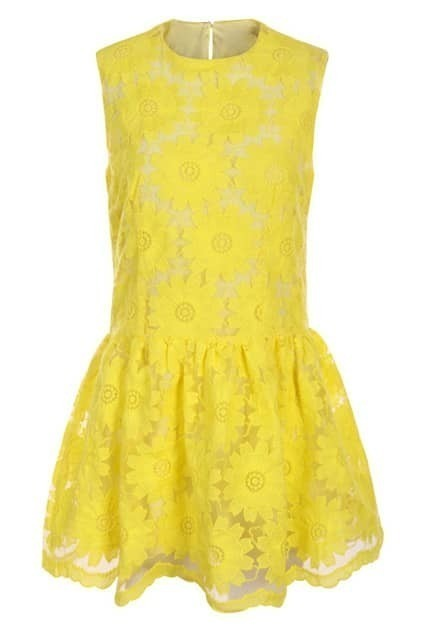 Flouncing Sleeveless Yellow Dress