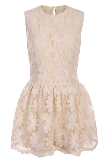 Flouncing Sleeveless Cream Dress