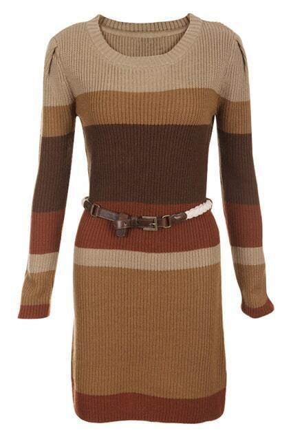 Belt Multicolor Autumn Dress
