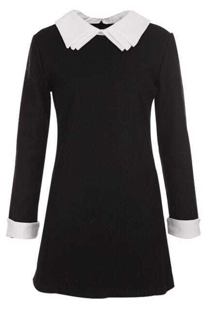 Three-layer Collar Zipper Black Dress