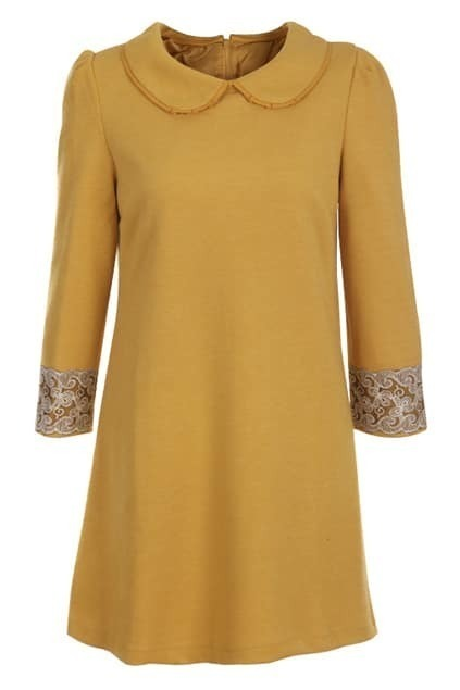 Embroidery Cuffs Yellow Dress