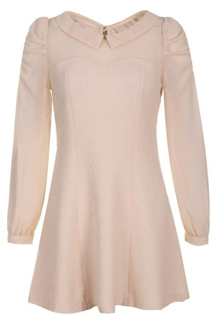 Splicing Puff Sleeves Cream Dress