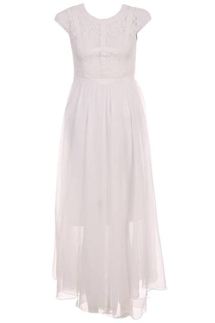 Faux Two Piece White Dress