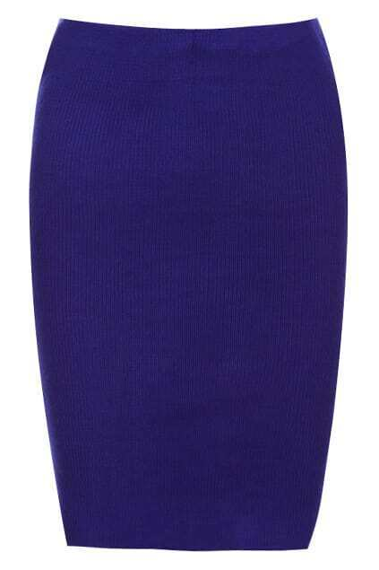 Zippered Royalblue Knitted Skirt