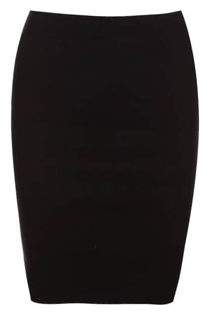 Zippered Black Knitted Skirt