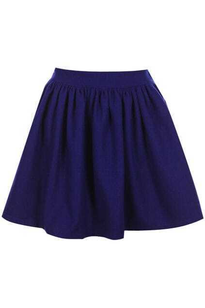 High Waist Pleated Blue Skirt