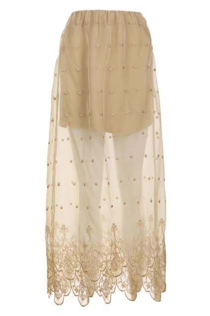 Translucent Embroidery Apricot Skirt